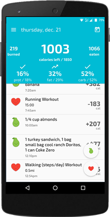 The FitClick Talk-to-Track calorie counter app
